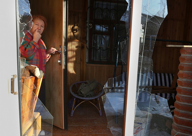 Photo: A damaged house after a shelling attack in Donetsk
