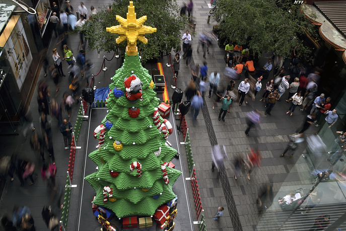 Lego Christmas tree made of colourful interlocking toy bricks created by The Lego Group in Sydney, Australia