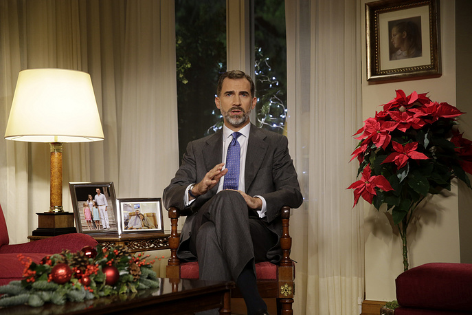 Spanish King Felipe VI speaking during his first traditional Christmas message, Zarzuela Palace in Madrid, Spain, 22 December 2014