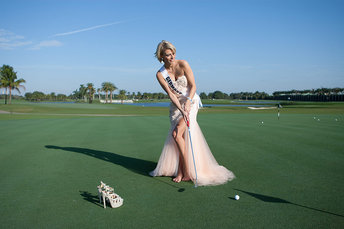 Josefin Donat, Miss Germany, poses for photographs in Miami, Florida, USA