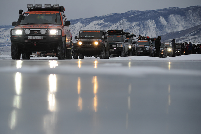 Since then Baikal has been targeted for development as a tourism destination. Photo: Participants of Expedition Trophy winter motor rally during the stage on the lake Baikal. The rally runs 12500 km from the Kola Bay lighthouse, Murmansk in north-west Russia to Zolotoi Rog bay lighthouse, Vladivostok in Far Eastern Russia, and is the longest rally entirely within one country