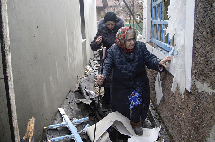 """The """"indiscriminate"""" shelling of the Donetsk and Luhansk regions has been on the rise and most incidents have been reported in residential areas. Photo: Damaged building in Donetsk"""