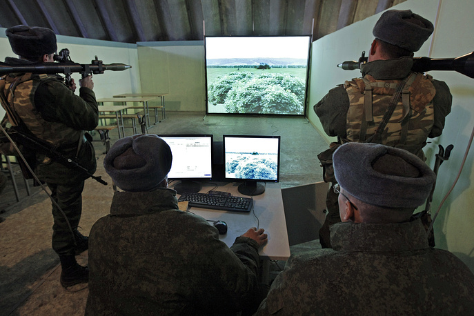 Servicemen of Russia's 7th military base in Abkhazia involved in tactical training using computer simulations