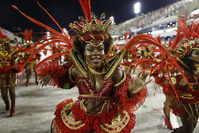 Performers from the Salgueiro samba school parade during carnival celebrations at the Sambadrome in Rio de Janeiro
