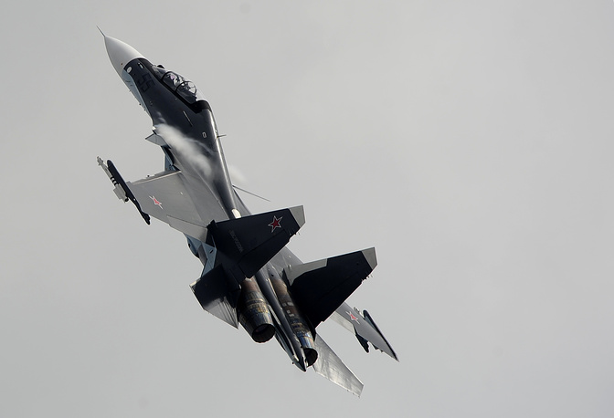 Su-30 is a multirole fighter for all-weather, air-to-air and air-to-surface deep interdiction missions. Photo: Su-30SM performing at MAKS 2013 air show