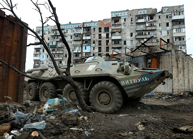 An armoured personnel carrier (APC) not far from the destroyed Donetsk airport