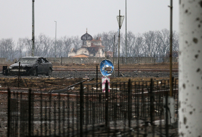 A view of a convent from the grounds of the destroyed Donetsk airport