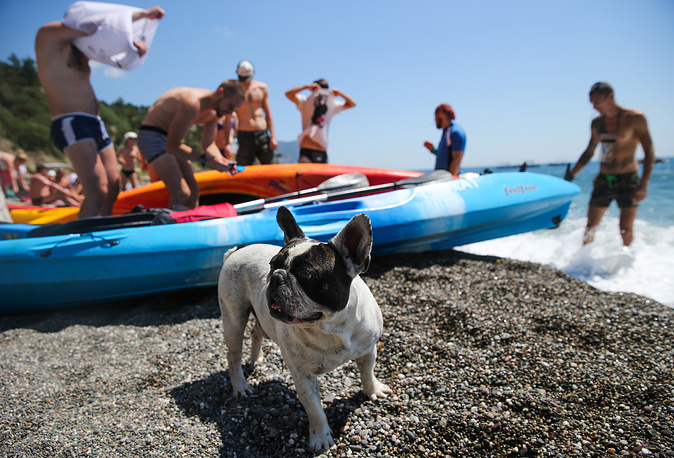 Russia plans to create 11 tourism and recreational complexes in Crimea. Photo: People enjoy sunny weather on a beach in the city of Yalta, Crimea