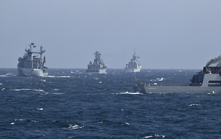 NATO warships maneuver on the Black Sea after leaving the port of Constanta, Romania, March 16