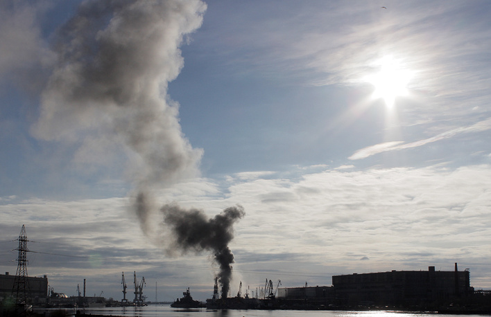 Smoke rises over the shipyard in Russia's Severodvinsk