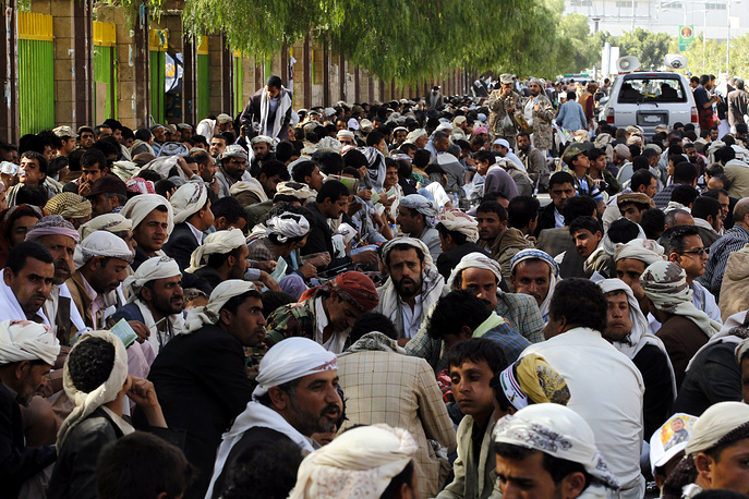 Houthi supporters at demonstration against recent UN Security Council sanctions in Sana'a