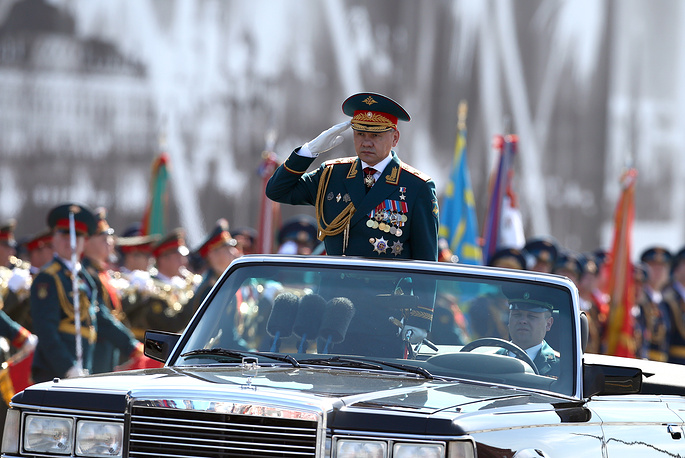 Russia's defense minister Sergei Shoigu taking part in a dress rehearsal of the May 9 Victory Day military parade in Moscow's Red Square