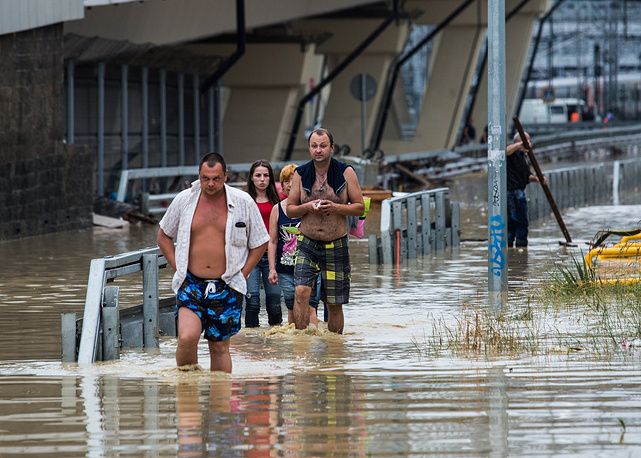 According to Russia's Emergencies Ministry, around 200 residential houses and 450 household gardens were flooded