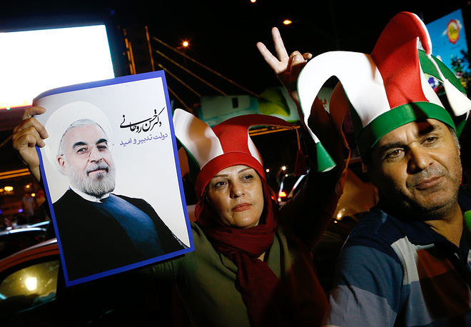 Citizens celebrate the nuclear deal in Tehran