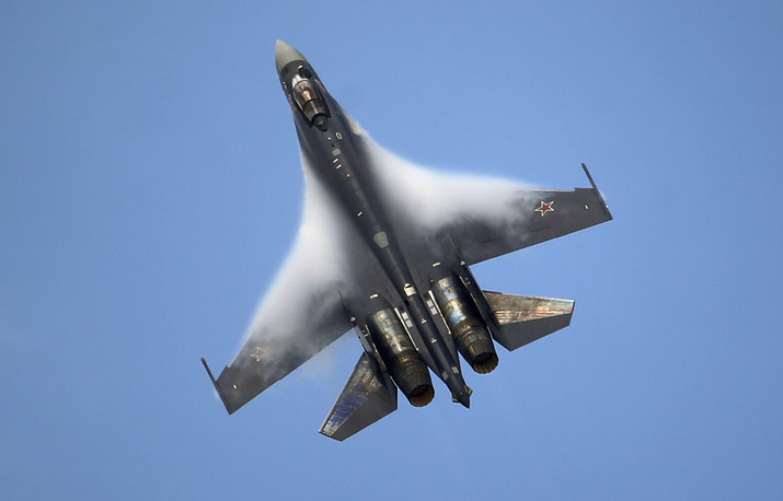 Sukhoi Su-35 figther jet is a designation for upgraded derivatives of the Su-27