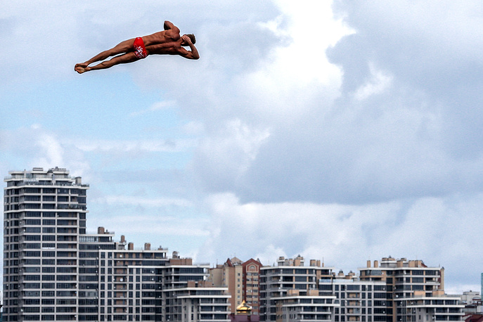Men's 27m high diving final at the Swimming World Championships in Kazan