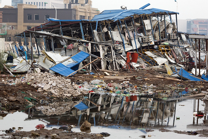 Dormitory destroyed by the shockwave of a nearby explosion n the northeastern China's Tianjin municipality
