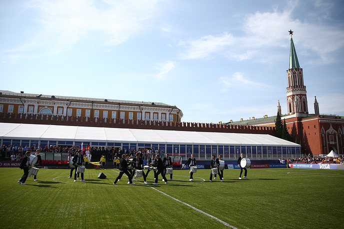 A ceremony marking the 1000-day countdown to the 2018 FIFA World Cup in Russia in Moscow's Red Square