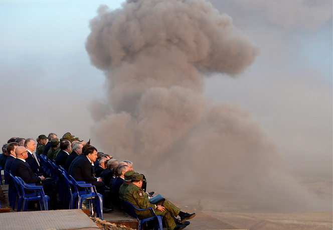 People watching the military exercises at the Donguzsky firing range