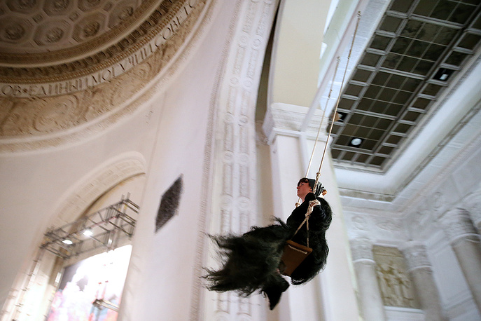 Artsist Johanna van Overmeir performing at the 6th Moscow Biennale of Contemporary Art, at Moscow's VDNKh Exhibition Center
