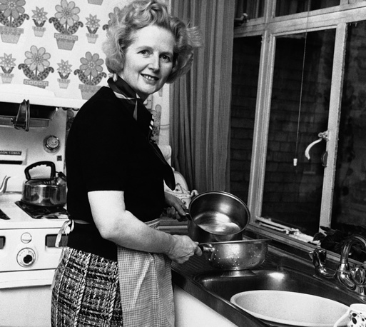 """Any woman who understands the problems of running a home will be nearer to understanding the problems of running a country,"" Thatcher once said. Photo: Margaret Thatcher in her kitchen at home in February, 1975"