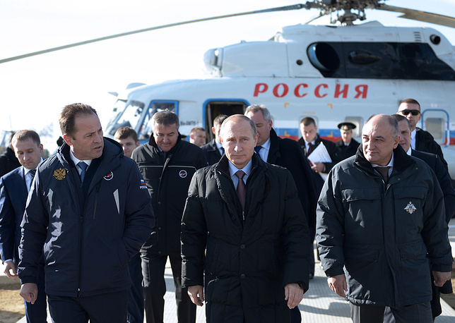 It will become the first national cosmodrome for civilian use. Photo: Russian Federal Space Agency (Roscosmos) head Igor Komarov, Russia's President Vladimir Putin and Federal Agency for Special Construction head Alexander Volosov visiting Vostochny Cosmodrome