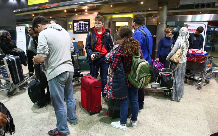 Passengers at the airport of Cairo