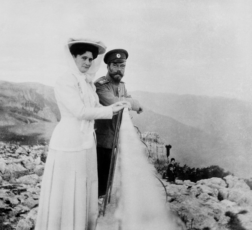 Emperor Nicholas II of Russia and his wife Alexandra Feodorovna on Ai-Petri Mount in Crimea, 1909