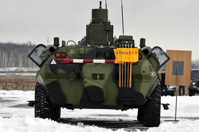 Reconnaissance vehicle RPM-2 designed for search and detection of radioactive places and chemically hazardous anomalies with transmission of the results of exploration to control points