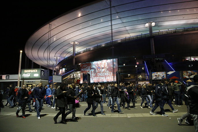 First explosions were heard at the Stade de France stadium were international friendly soccer France against Germany was held. Photo: People leaving the Stade de France stadium in Saint Denis, outside Paris