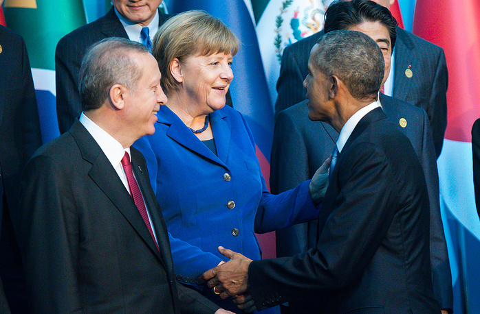 US President Barrack Obama, German Chancellor Angela Merkel and Turkish President Recep Tayyip Erdogan