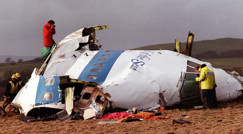 Pan Am Boeing 747 was bombed over Lockerbie, Scotland, killing all 243 passengers and 16 crew on board, December 28, 1988. Photo: Flight deck of Pan Am 103 on a field in Lockerbie, Scotland