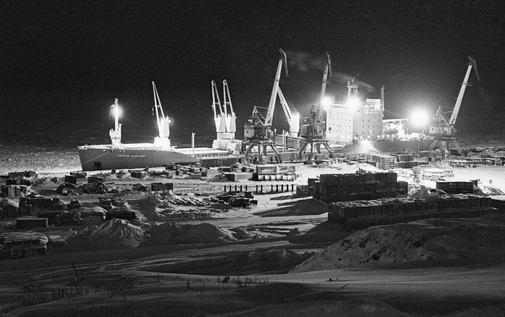 The polar night over the Dudinka seaport, Krasnoyarsk Territory, 1989