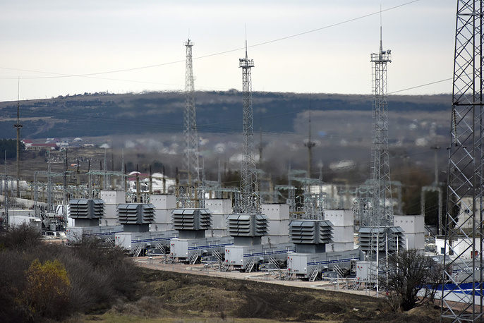 A mobile gas turbine power plant working to provide electricity in Stroganovka village outside Simferopol, Crimea