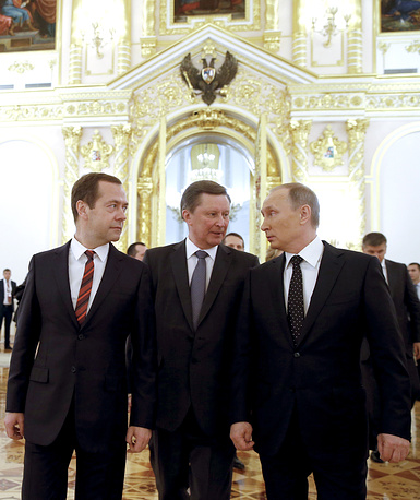 Russia's Prime Minister Dmitry Medvedev, Kremlin's Chief of Staff Sergei Ivanov, and Russia's President Vladimir Putin