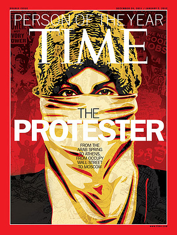 """""""The Protester"""" was the choice for the year 2011, referring to many global protest movements, the Arab Spring, Occupy Movement, as well as protests in Greece, India, Russia, among others"""