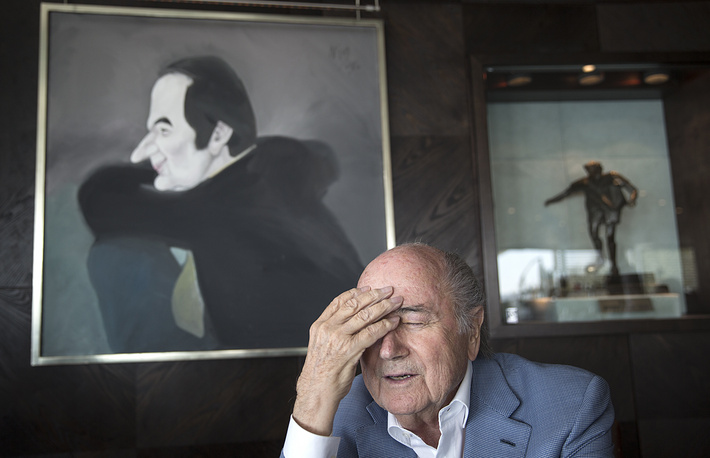 FIFA President Joseph Blatter seen during an exclusive interview with the TASS news agency, October 28, 2015