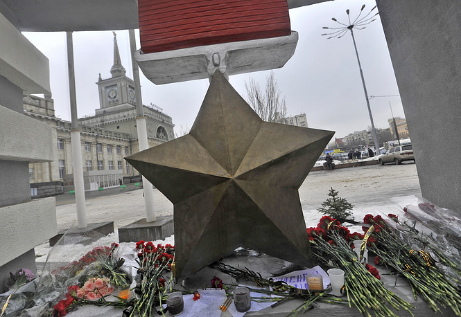 Flowers at site of an explosion at the train station in Russia's southern city of Volgograd