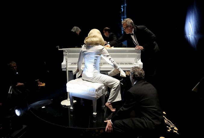 Lady Gaga performing onstage the 88th Annual Academy Awards