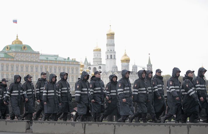 Moscow police officers seen during a traditional May Day demonstration, 2015