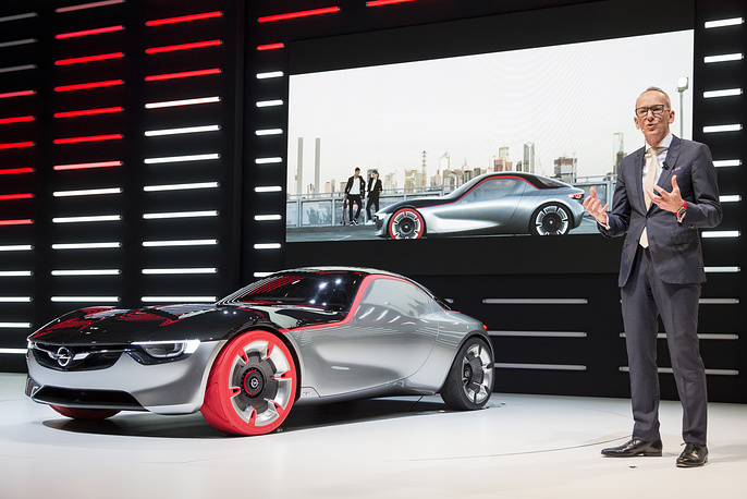 Opel CEO Karl-Thomas Neumann presenting the new concept car Opel GT Concept at Palexpo Congress Center in Geneva