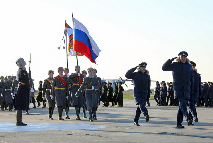 An Honour Guard marching during the arrival ceremony in the Krasnodar Territory for Russian Aerospace Force pilots who have returned from Syria