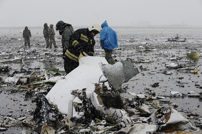 The wreckage of Boeing 737-800 of FlyDubai Airlines that crashed during a second attempt to land in bad weather conditions at the Rostov-on-Don airport