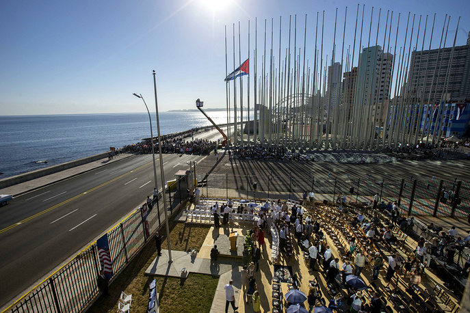 In August, 2015 US Secretary of State John Kerry Kerry visited Havana to raise the US flag over a restored US Embassy in the Cuban capital. Photo: A view of the staging area for the flag raising ceremony outside the newly opened US Embassy in Havana, Cuba, Aug. 14, 2015