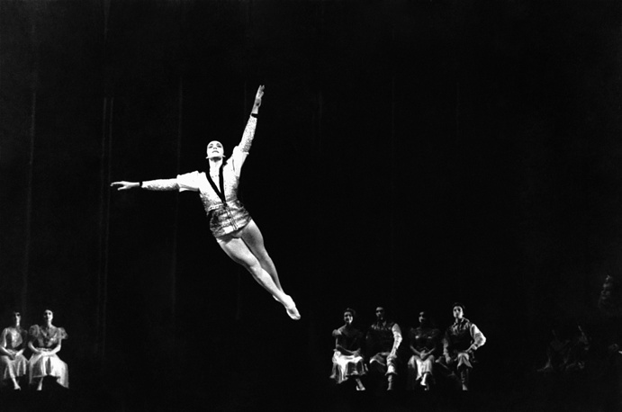 Bolshoi Ballet dancer Nikolai Fadeyechev as The Prince in a scene from Pyotr Tchaikovsky's Swan Lake ballet, 1964
