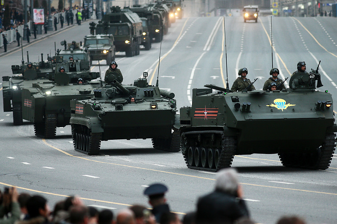 Military vehicles moving along Tverskaya Street ahead of a Victory Day Parade rehearsal in Moscow