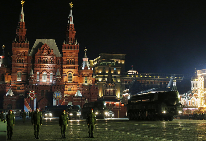 Yars intercontinental ballistic missiles in Moscow's Red Square