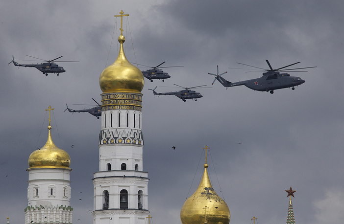 Russian military helicopters flying over Ivan the Great bell-tower and Moscow's Kremlin during a rehearsal for the Victory Day military parade which will take place at Moscow's Red Square on May 9 to celebrate 71 years after the victory in WWII