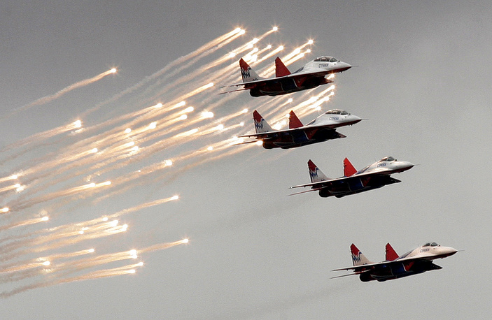 MiG 29 fighter jets of the Russian aerobatic squadron Strizhi (Swifts) seen at MAKS, the International Aviation and Space Show, 2009