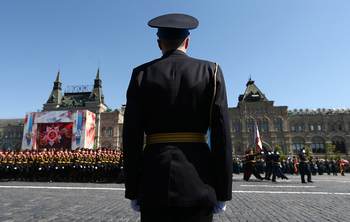 Serviceman at the Victory Day military parade marking the 71st anniversary of the Victory over Nazi Germany in World War II, in Moscow's Red Square
